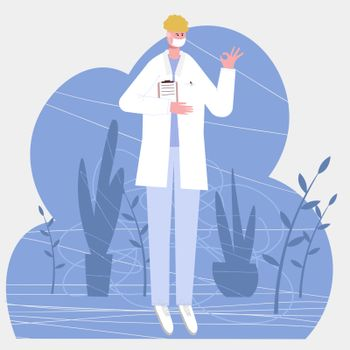 european male doctor shows with a gesture that everything is all right, isolated on white background vector illustration in a flat style for web pages and mailings