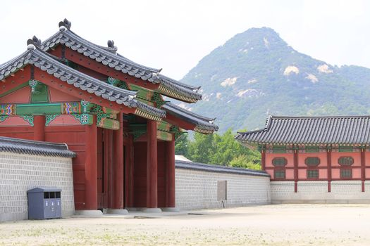 Gyeongbokgung Palace or Gyeongbok Palace, main royal palace of Joseon dynasty, built in 1395. Tourists visit the place everyday to see the changing guard show.