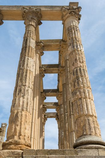 Architectural columns of the roman ruin Temple of Diana in Merida, Extremadura, Spain. Travel and Tourism.