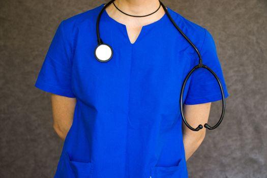 Doctors uniform. Blue uniform for surgery and viruses.