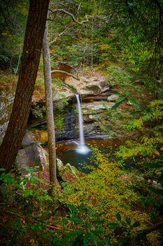 View of beautiful Flat Lick Falls near Gray Hawk, Kentucky.