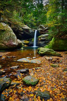 Beautiful Flat Lick Falls with Fall colors near Gray Hawk, Kentu