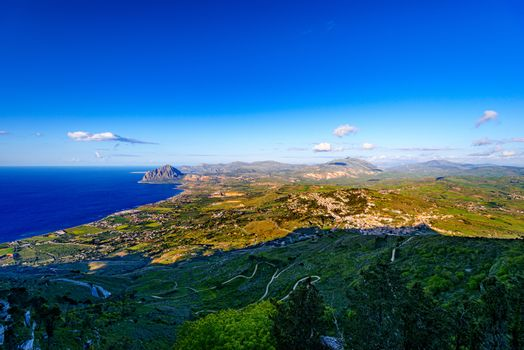 Aerial view on Sicilian valley