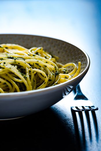 Cooked tasty spaghetti pasta in a bowl