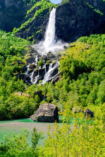 Landscape with waterfall in Norway