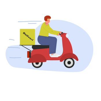 Deliveryman. A young European on a scooter delivers courier orders. Fast food delivery service. Flat vector illustration.