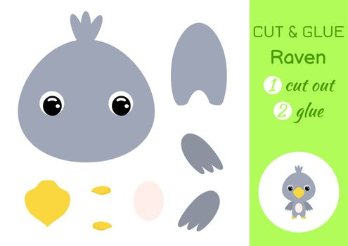 Cut and glue baby raven. Education developing worksheet. Color paper game for preschool children. Cut parts of image and glue on paper. Cartoon character. Colorful vector stock illustration.