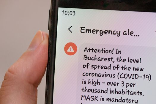 Emergency alert on smartphone, authorities announce state of ale