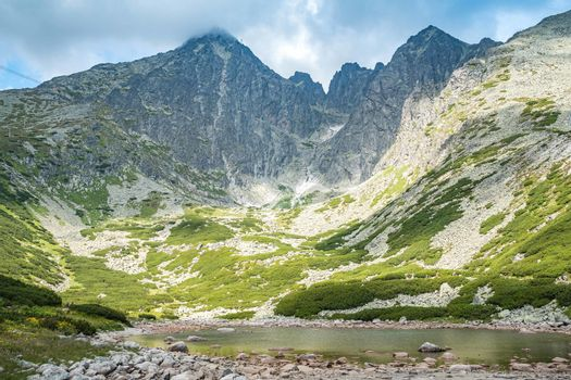 A landscape in the High Tatras with the lake Skalnate Pleso and Lomnicky peak. Summer view from national park of Slovakia