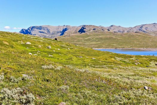Beautiful Vavatn lake and mountains in the summertime in Hemsedal, Buskeud, Norway.