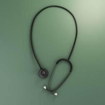 stethoscope isolated on green background 3d illustration
