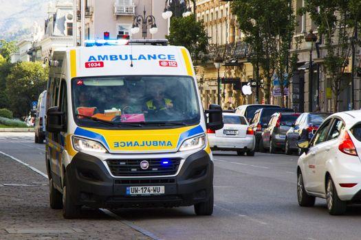 Tbilisi, Georgia - September 09, 2020: Ambulance car in the street of Tbilisi.