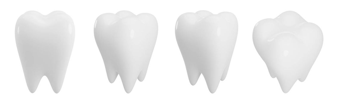 Teeth isolated on white background with copy space 3d render