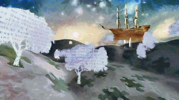 Text paper trees in surreal landscape with sailing ship in stars. 3D rendering