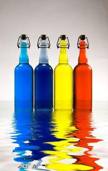 Colorful bottles. Modern art. 3D rendering