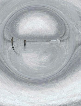 Peaceful man on beach. Modern abstract art. 3D rendering