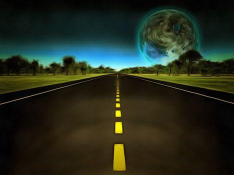 Surreal painting. Terraformed moon at the horizon. 3D rendering