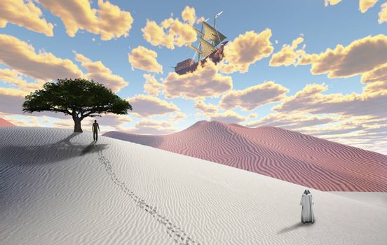 Surreal white desert with figure in cloak. Man in a distance. Ancient ship in the sky. 3D rendering