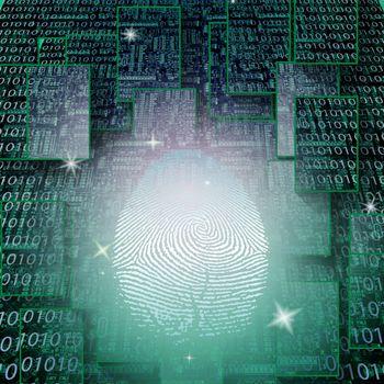 Machine fingerprint on binary code. 3D rendering
