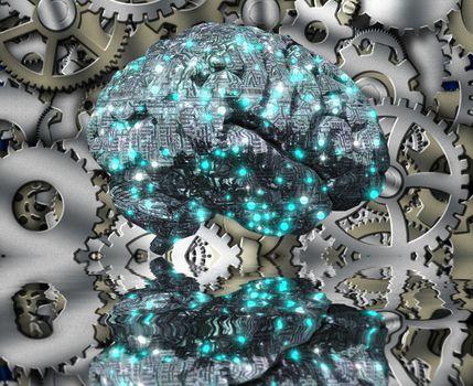 Machine Brain and Cog wheels. 3D rendering