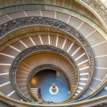 ROME, ITALY - CIRCA SEPTEMBER 2020: the famous spiral staircase with double helix. Vatican Museum, made by Giuseppe Momo in 1932