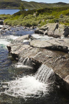 Beautiful Storebottåne river flows into the vavatn lake. Summer landscape in Hemsedal, Buskerud, Norway.