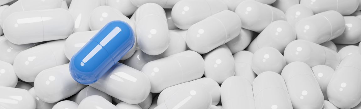 Close up of blue pill capsule in many white pills capsules. Medicine and Specialty Pharmaceuticals concept.,3d model and illustration.