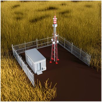 radio tower in a wheat field 3d illustration