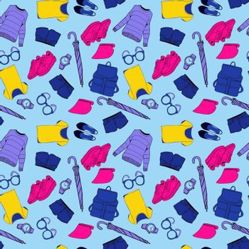 Vector pattern of hand drawn fashion clothes and accessories summer outfit collection on strip background.