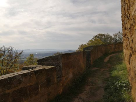 Panoramic views of the castle Hohenrechberg to the south of Germany