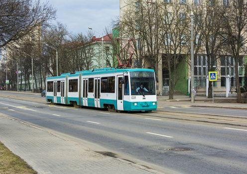 Minsk, Belarus-April 5, 2018: Urban transport. Tram on the street Yakub Kolas