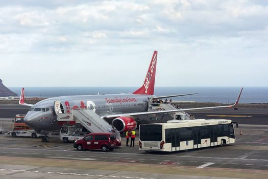 Spain, Alicante – May 19, 2018: the Passengers leave the plane the airline Jet2.