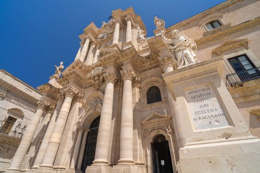 Facade of the cathedral of Syracuse, Italy.