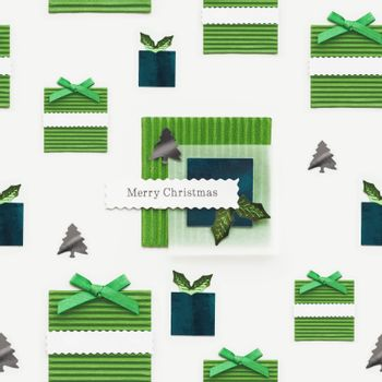 Seamless photo pattern with Merry Christmas greeting on presents. Scrapbooking styled photo with green paper New Year gifts and fir tree confetti. Winter holiday background.