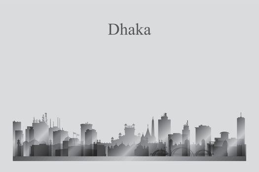 Dhaka city skyline silhouette in a grayscale