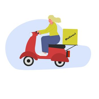 Girl courier blonde without helmet courier on a scooter. Vector illustration in flat style