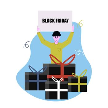 A man holds a poster with a discount announcement. Black Friday. Gifts, boxes, shopping. Shopping hand drawn illustration. Sales promotion