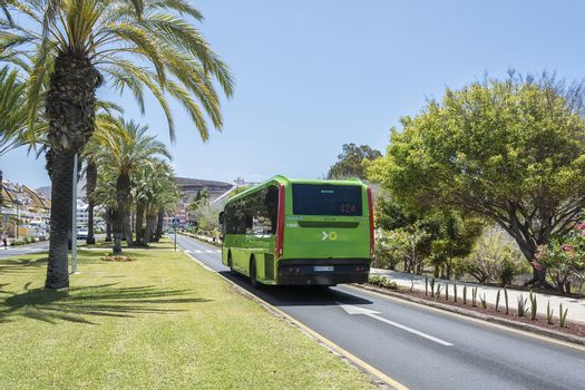 Spain, las Americas - May 15, 2018: - VOLVO passenger bus of Titsa transport company. Transport company Titsa performs passenger transportation on the island of Tenerife.