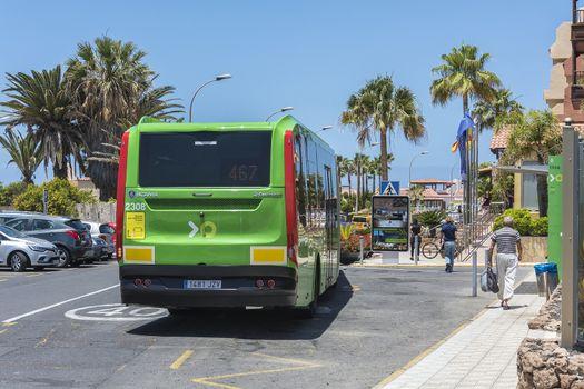 Spain, La Caleta - May 15, 2018: - Scheduled passenger bus Scania transport company TICA. Transport company TICA performs passenger transportation on the island of Tenerife.