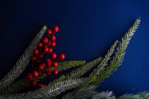 Christmas frame with tree branch and red berries on deep blue background