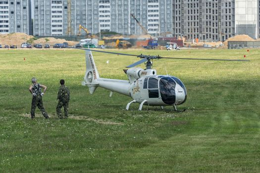 Helicopter at the Borovaya airfield, the venue of the 16th World