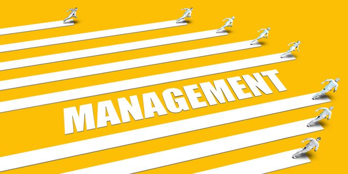 Management Concept with Business People Running on Yellow