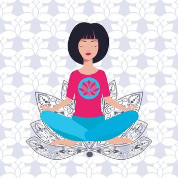 Vector illustration with Yoga girl in lotus position and background with lotus flowers.