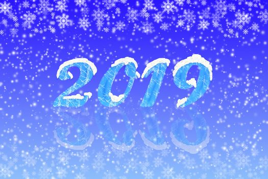 Number 2019 with reflection on a blue gradient background with snow and snowflakes
