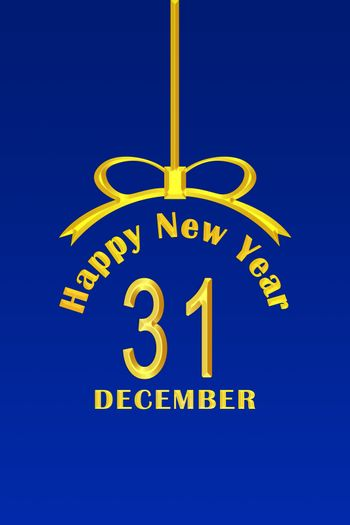 Template for new year greetings in the form of a Christmas ball with a gold inscription and date, blue background