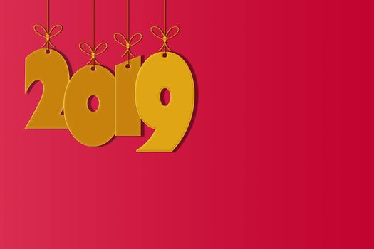 Template for creating congratulations with the New Year 2019 with a place for the inscription. Gold numbers 2019 on a red background with snow
