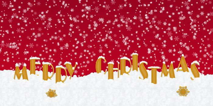 Blank for Christmas greetings with letters on snow and red Christmas background
