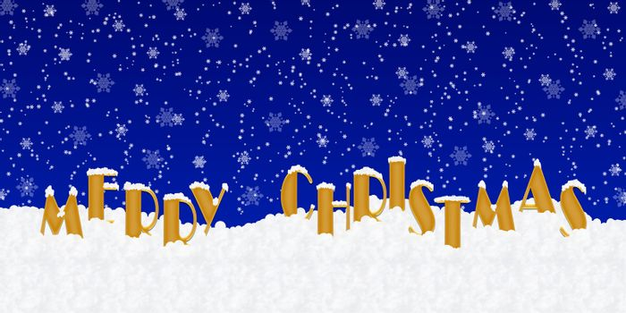 Blank for Christmas greetings with letters on snow and blue Christmas background