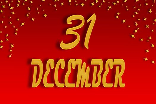Date December 31 written in gold on a red gradient background