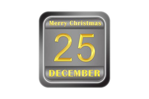 Metal surround plate greetings Happy Christmas gold inscription